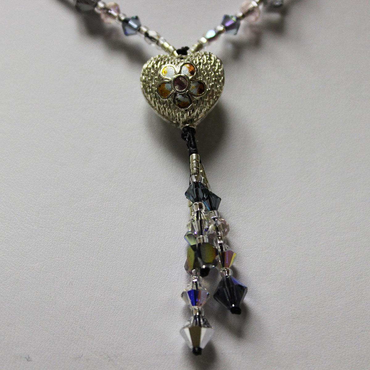 crystal necklace, drop necklace, Cloisonné bead, Cloisonné necklace, heart shaped center bead, handmade silver necklace