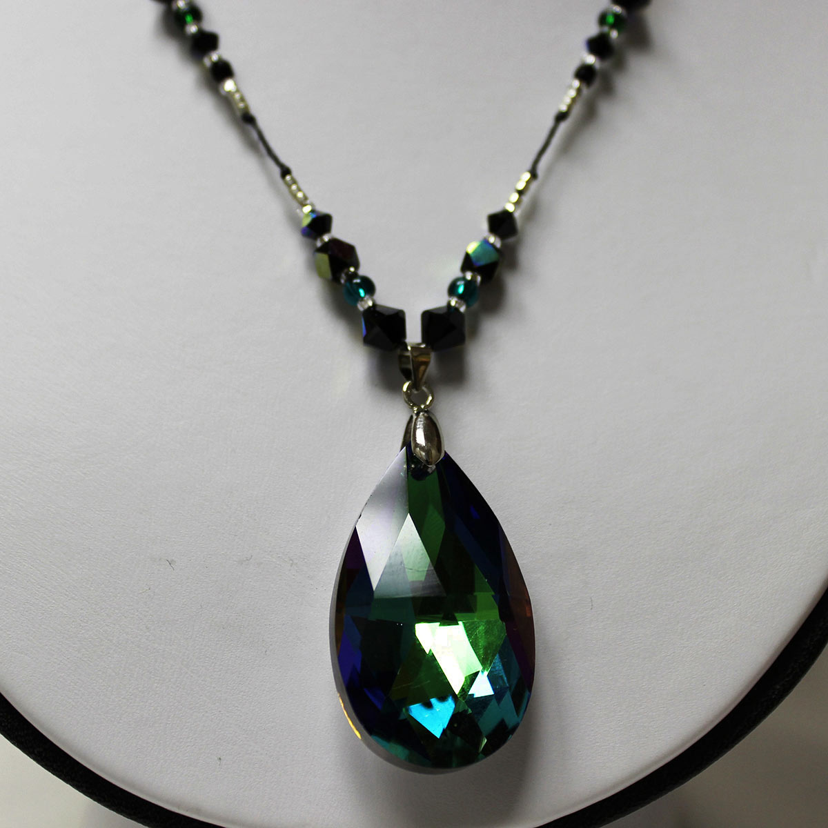 handmade statement necklace, prism bead, emerald beads, black crystal beads