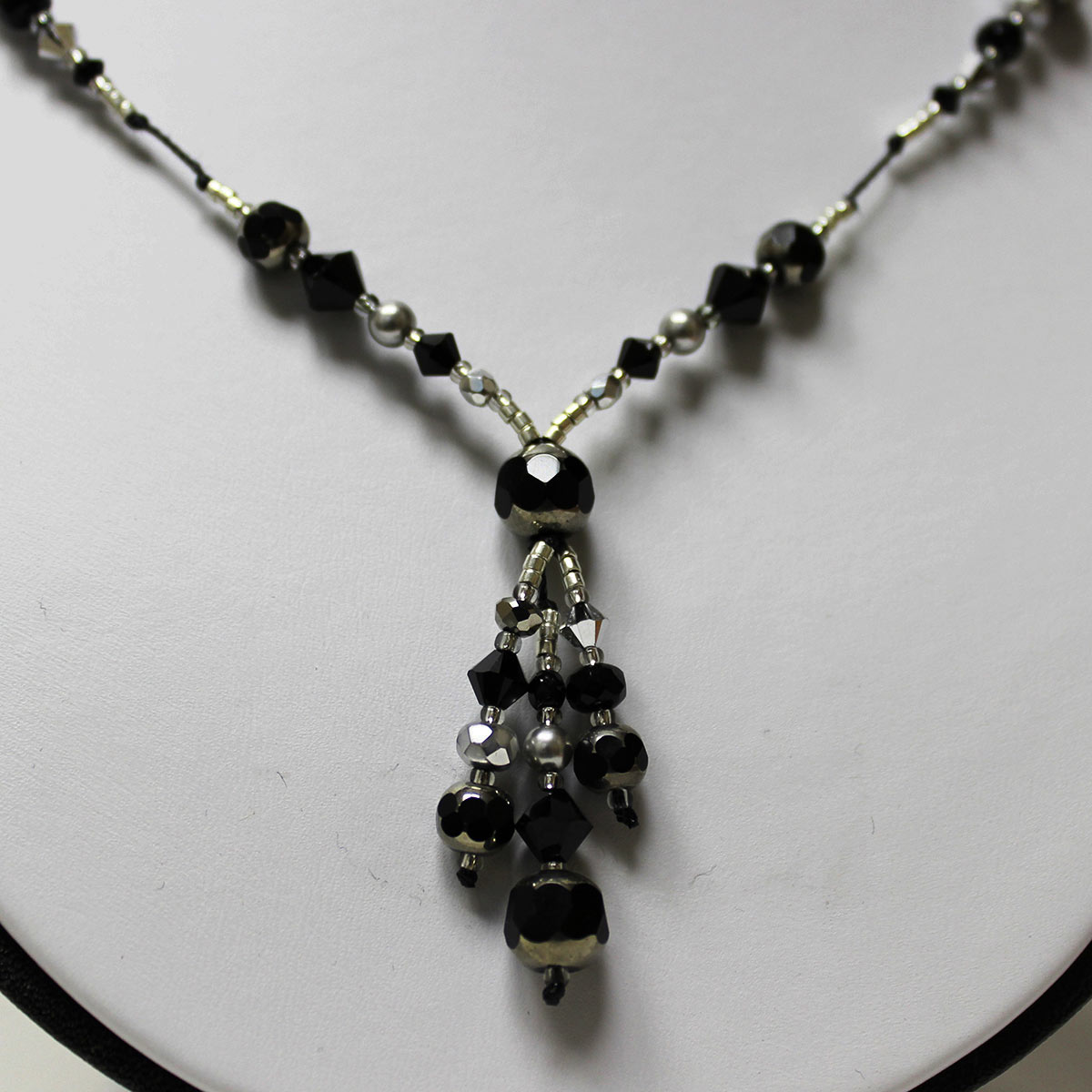 drop necklace, cathedral beads, black and gray necklace, unique crystal necklace