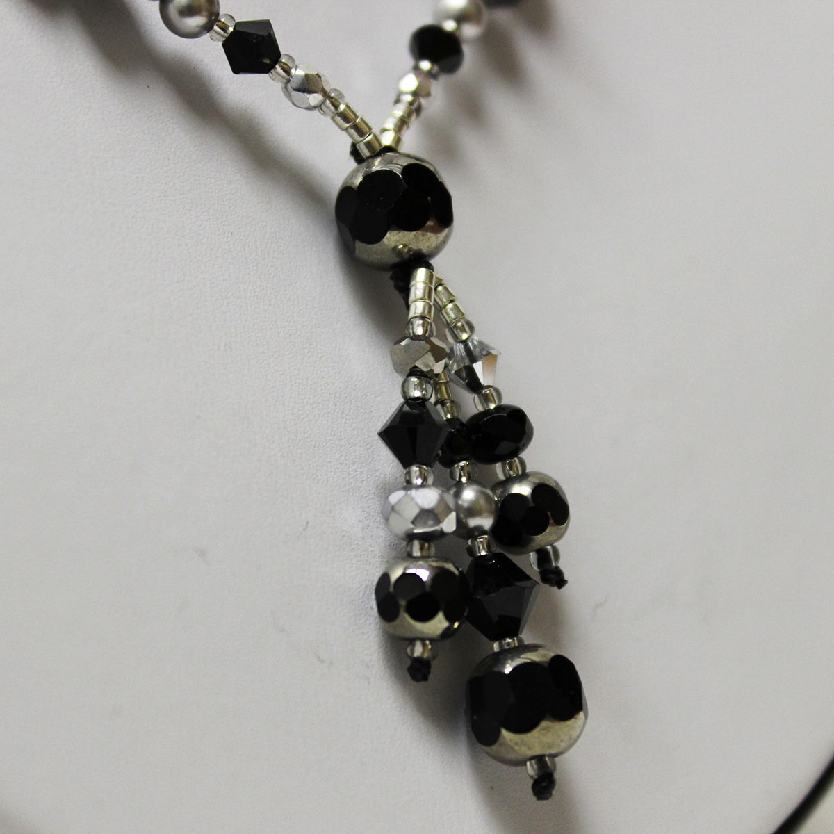 drop necklace, handmade pearl necklace, cathedral beads, crystal beads, black and silver necklace