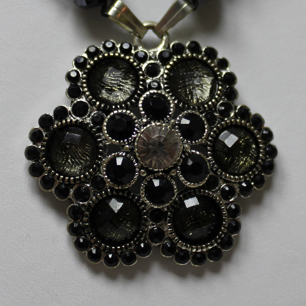crystal flower bead, flower bead, hematite crystal flower, statement flower necklace