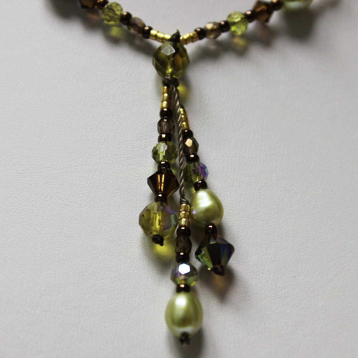 crystal drop necklace, olivine green beads, gold crystal beads, gold necklace, gold handmade necklace