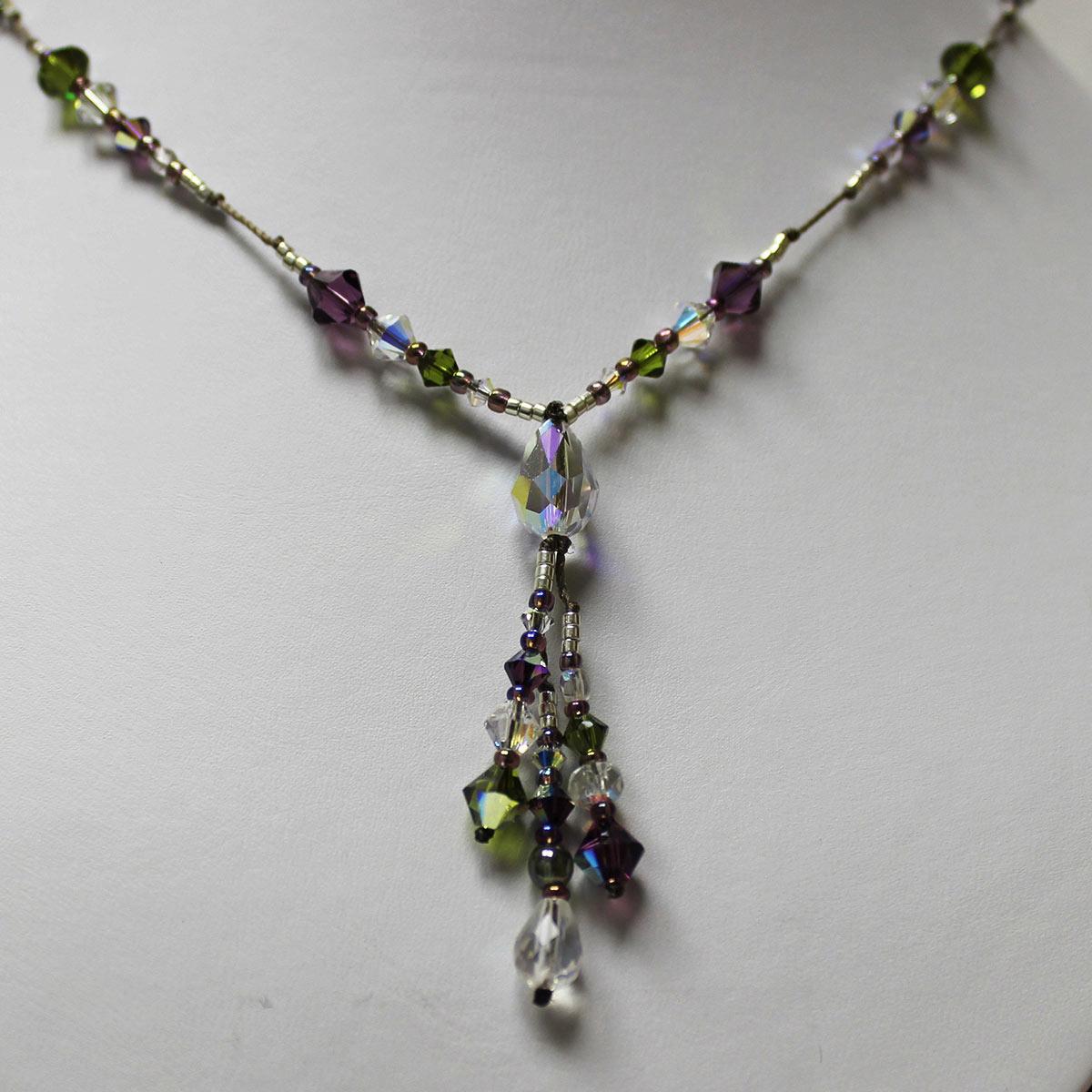 unique crystal necklace, Swarvoski teardrop bead, 3 drop necklace, everyday Swarvoski necklace