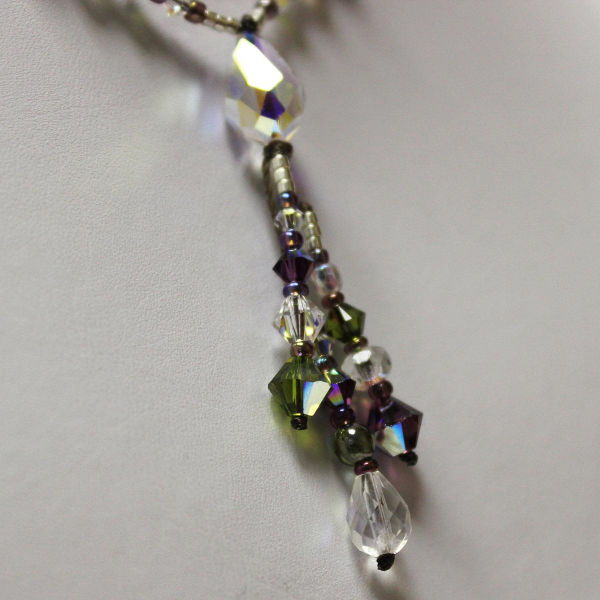 Swarvoski teardrop necklace, clear crystals, drop necklace, amethyst crystals