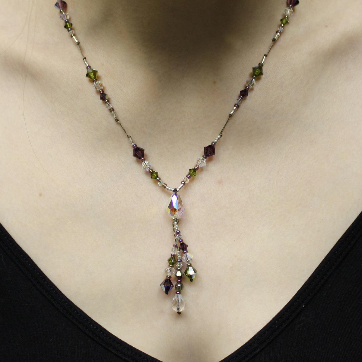unique crystal necklace, Swarvoski teardrop bead, handmade Swarvoski jewelry, drop necklace