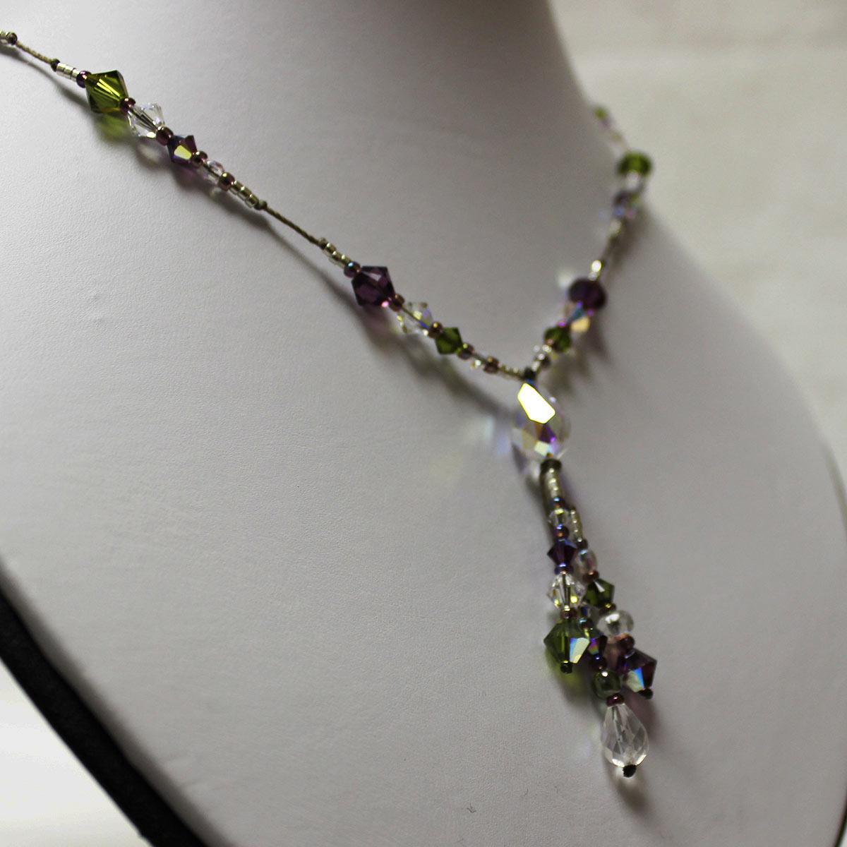 unique Swarvoski Necklace, Swarvoski teardrop necklace, drop necklace, amethyst and olivine green crystals
