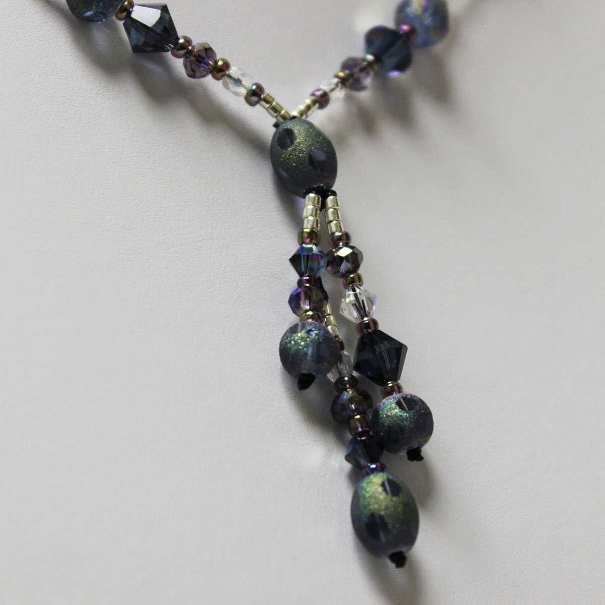 amethyst crystal necklace, triple drop necklace, stardust bead necklace