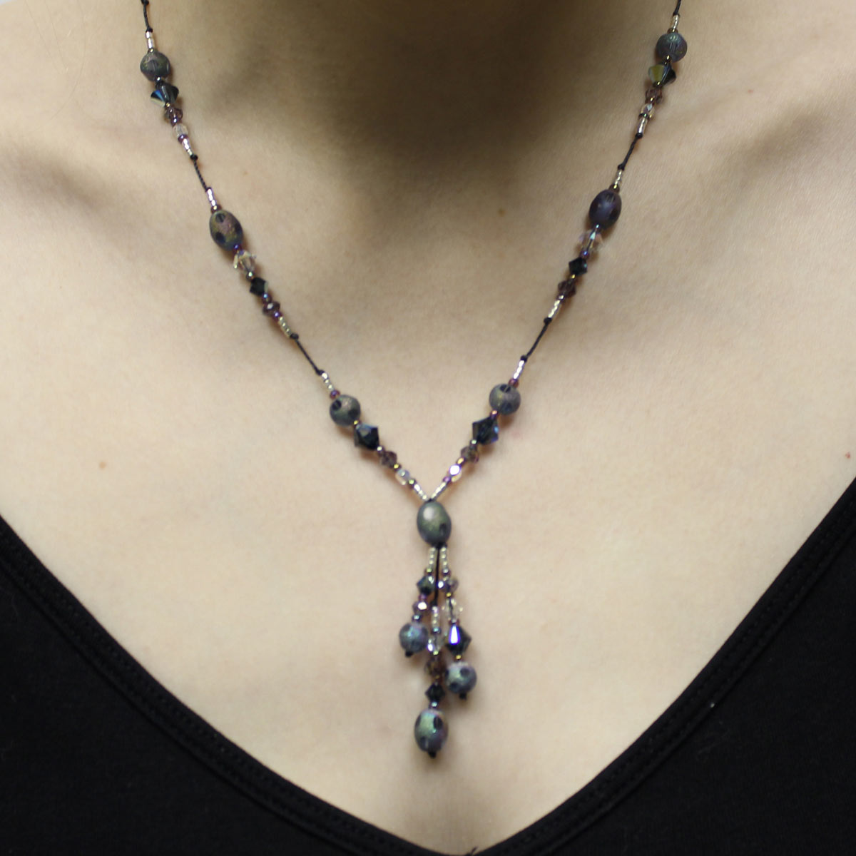 stardust beads, stardust center bead, drop necklace, amethyst crystal necklace, handmade jewelry
