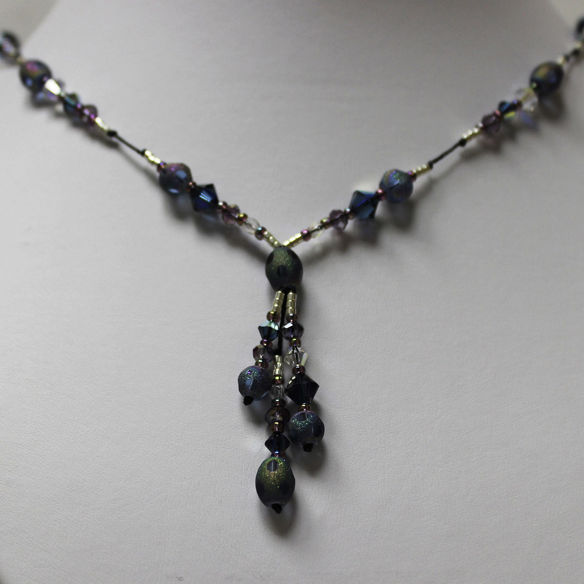 triple drop necklace, stardust beads, amethyst crystals, clear crystals