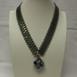 Dichroic glass, Linda V Jewelry, Tila Necklace, Tila Jewelry