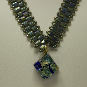 Dichroic glass, Tila Necklace, Tila Jewelry, Linda V Jewelry