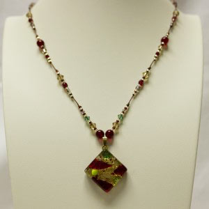 Ruby/Gold Murano Charm Necklace