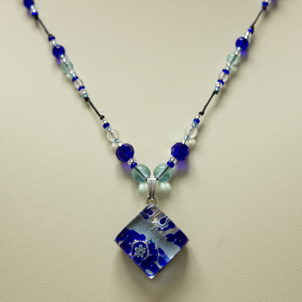 signed double bead blue glass strand vendome necklace coppery and img product